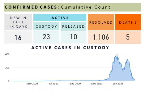 """Screenshot of CDCr COVID tracking info for CSP Solano from Feb 17, 2021. Chart shows a large double spiked outbreak from end of November today, peaking at 300 persons active with COVID at one point. """"CONFIRMED CASES: Cumulative Count NEW IN LAST 14 DAYS: 16 ACTIVE - CUSTODY; 23, RELEASED: 10 RESOLVED: 1106 DEATHS: 5"""""""